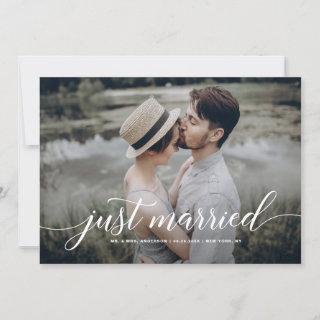 White Just Married Overlay Cursive Script Photo Announcement