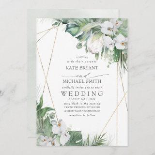 White King Protea Orchids Tropical Floral Wedding Invitations
