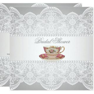 white lace Bridal Shower Tea Party Invitations