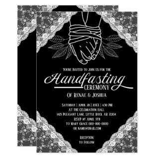 White Lace Handfasting Bound Hands Wedding Invitation