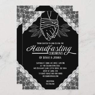 White Lace Handfasting Bound Hands Wedding Invitations