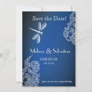 White Lace on Royal Blue  Dragonflies Save The Date