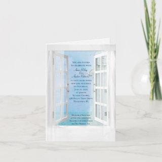 white lighthouse and ocean view in window Invitations