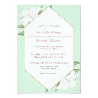 White Lilies & Mild Mint Wedding Invitations