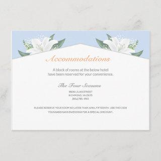 White Lilies & Powder Blue Accommodations Card