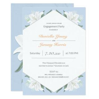 White Lilies & Powder Blue Engagement Party Invitation
