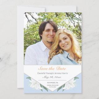 White Lilies & Powder Blue Save the Date Card