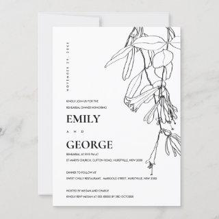 WHITE LINE DRAWING FLORAL REHEARSAL DINNER INVITE