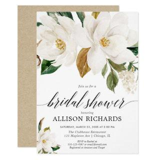 White magnolia floral rustic bridal shower Invitations