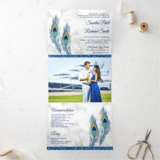 White Marble Blue Indian Peacock Feathers Wedding Tri-Fold Invitation