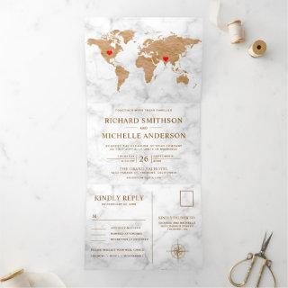 White Marble Bronze World Map All in One Wedding Tri-Fold Invitations