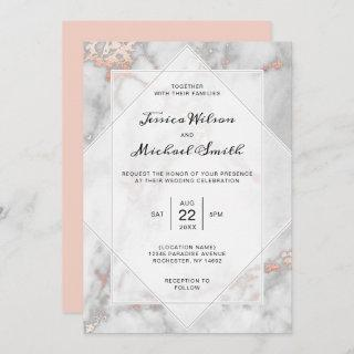 White Marble Coral Pink Elegant Rose Gold Wedding Invitation
