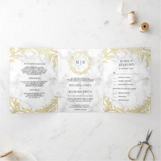 White Marble Gold Leaf Branch All in One Wedding Tri-Fold