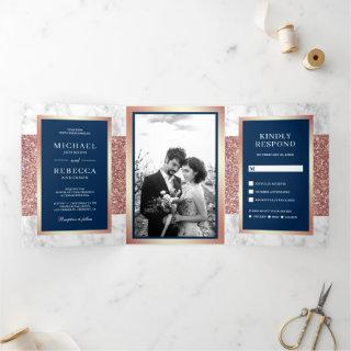 White Marble Rose Gold Glitter Navy Blue Wedding Tri-Fold Invitations