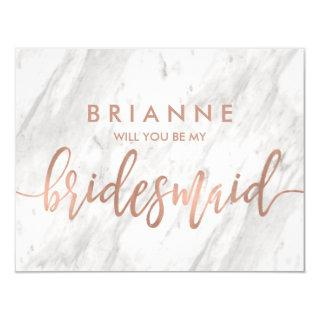 White Marble & Rose Gold Will You Be My Bridesmaid Invitations