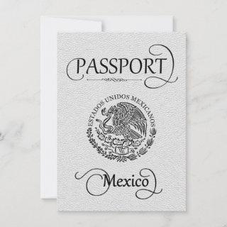 White Mexico Passport Save the Date Card