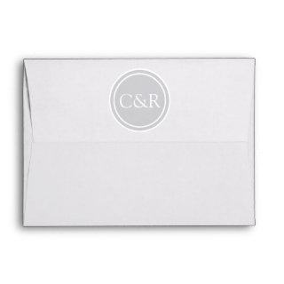 White Monogram Envelope, Light Gray / Silver Lined Envelope