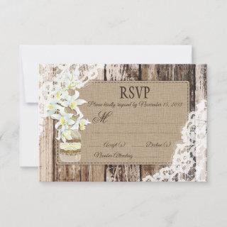 White Orchid Flowers Wood Lace Rustic RSVP Card