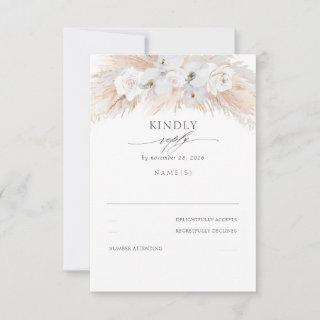 White Orchids and Roses Dried Pampas Wedding RSVP