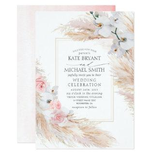 White Orchids Blush Roses and Pampas Grass Wedding Invitations