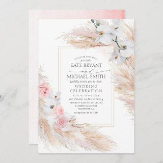 White Orchids Blush Roses and Pampas Grass Wedding Invitation
