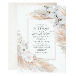 White Orchids Roses and Pampas Grass Wedding Invitation