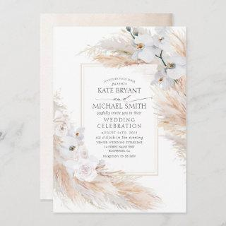 White Orchids Roses and Pampas Grass Wedding