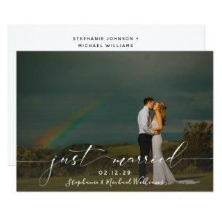 White Overlay Calligraphy Just Married Photo Invitations