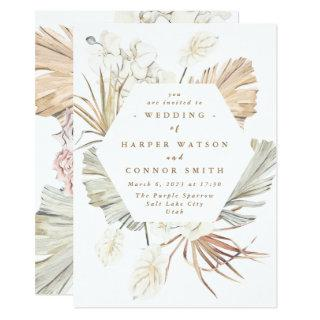 White Pampas Dried Grass Floral Tropical Jungle Invitations