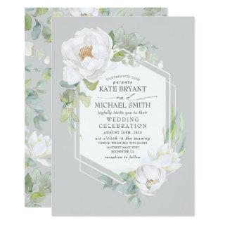 White Peony and Greenery Geometric Frame Wedding Invitations
