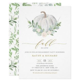 White Pumpkin and Greenery Fall Engagement Party Invitations