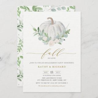 White Pumpkin and Greenery Fall Engagement Party Invitation