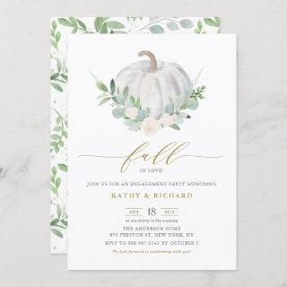 White Pumpkin and Greenery Fall Engagement Party