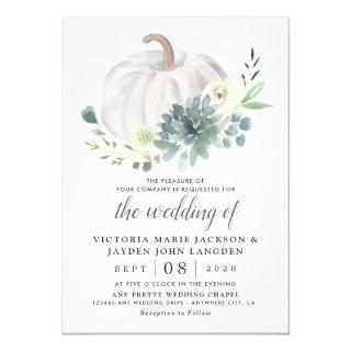 White Pumpkin Elegant Succulent Fall Chic Wedding Invitations