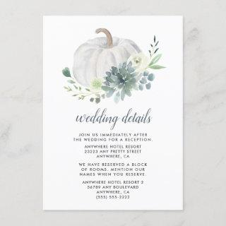 White Pumpkin Succulent Elegant Greenery Wedding Enclosure Card