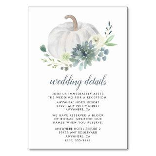 White Pumpkin Succulent Wedding Enclosure Cards