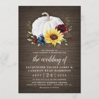 White Pumpkin Sunflower Roses Gold Fall Wedding Invitations