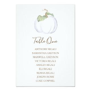 White Pumpkin Wedding Seating Chart, Table Plan Invitation