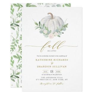 White Pumpkin Wreath Greenery Fall Wedding Invitation