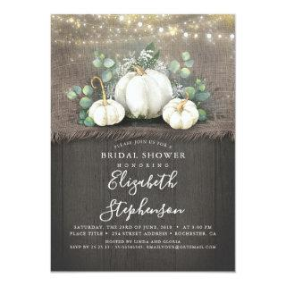 White Pumpkins Rustic Country Fall Bridal Shower Invitations