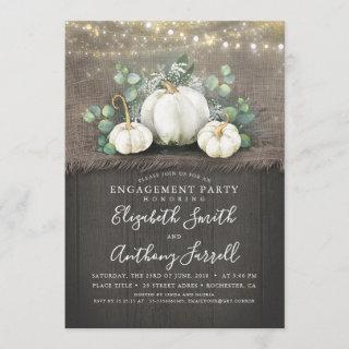 White Pumpkins Rustic Engagement Party Invitations