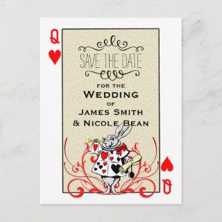White Rabbit Queen of Hearts Wonderland Save Date Announcement Postcard