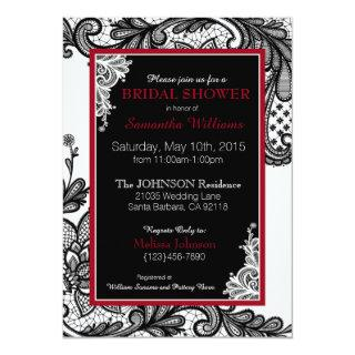 White Red and Black Lace Bridal Shower Invitation