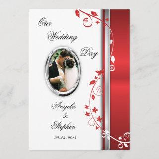 White & Red Floral Wedding Photo Invitations