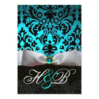 WHITE RIBBON TEAL AQUA BLUE BLACK DAMASK MONOGRAM INVITATION
