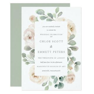 White Rose Floral Botanical Wedding Invitations
