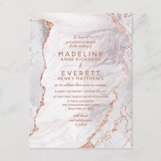 White & Rose Gold Agate Marble Foil Modern Wedding Invitation Postcard