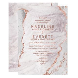 White & Rose Gold Agate Marble Foil Trendy Wedding Invitations