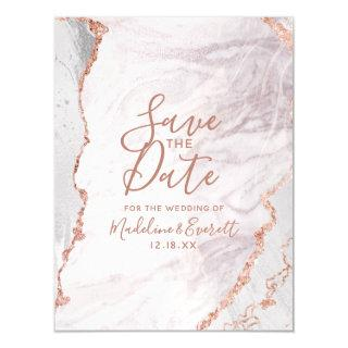 White & Rose Gold Agate Wedding Save the Date Magnetic Invitations