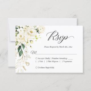 White Rose Gold Floral Wedding RSVP Reply